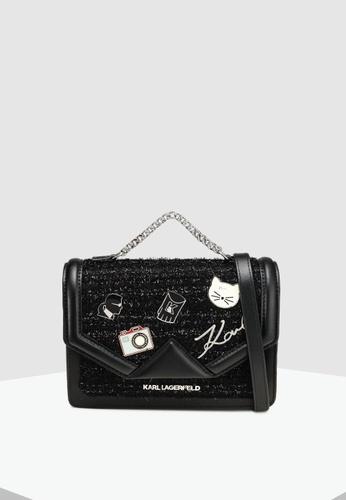 fe2e2fdc1539 KARL LAGERFELD black Klassik Pins Med Shoulder Bag 37D12ACB26CD1AGS 1