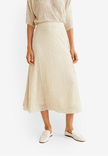 Mango beige Flowy Textured Skirt 9C954AAC98667DGS_1