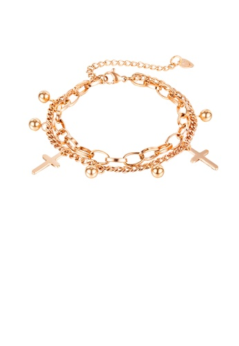 Glamorousky silver Fashion Simple Plated Rose Gold Cross Round Bead 316L Stainless Steel Double Bracelet 6F75CAC95D6C23GS_1