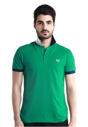Fred Perry Green Label white and green and blue Special UnderCollar Green Polo Shirt FR595AA64TCTMY_1