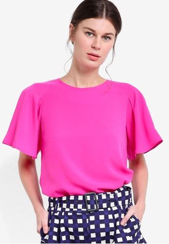 WAREHOUSE pink Pleated Sleeve Top WA653AA82LDHMY_1