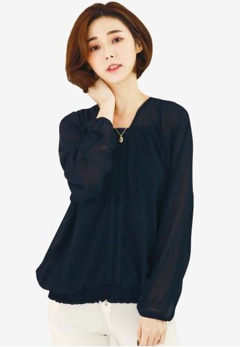 Sesura black Simply Sweet Chiffon Top E521BAAE011A2DGS_1