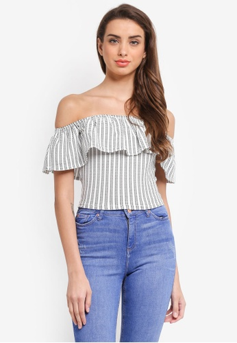 Miss Selfridge black Stripe Frill Bardot Top 55D3BAA6110BDFGS_1