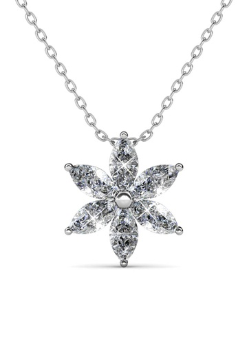 Her Jewellery silver Petal Flower Pendant (White Gold) - Made with premium grade crystals from Austria 5FC4BAC83B41F6GS_1