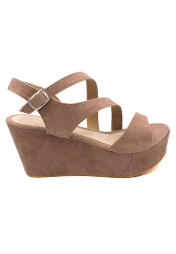 midzone brown MIDZONE Lady Fashion Slingback Wedges 652F7SHCC27D4CGS_1