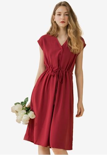 Eyescream red V-Neck Button Down Shirt Dress 84EE4AA7E20882GS_1