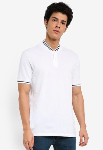 MANGO Man 白色 短袖條紋滾邊POLO衫 6E12CAAB87AFFDGS_1