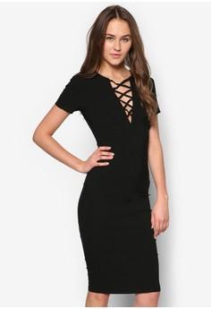 Lace Up Short Sleeved Midi Dress