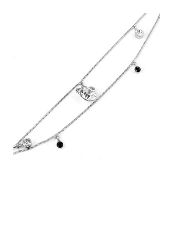 Glamorousky black Gracious Anklet with Silver CZ, Black and Silver Austrian Element Crystal EE40AAC1DA4CA5GS_1