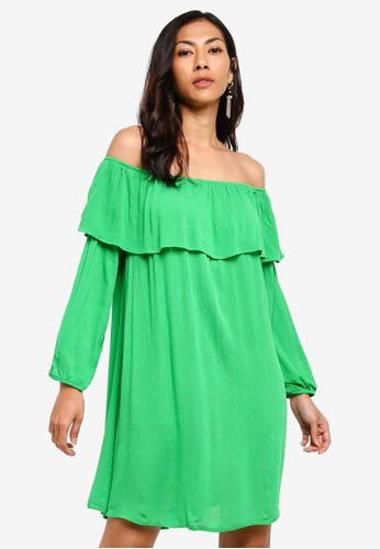 Glamorous green Bardot Ruched Mini Dress 60E1CAA5D2D357GS_1
