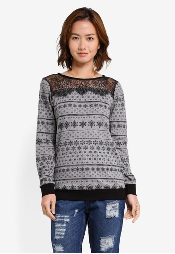 UniqTee grey Lace Top Printed Sweater UN097AA0SHDUMY_1