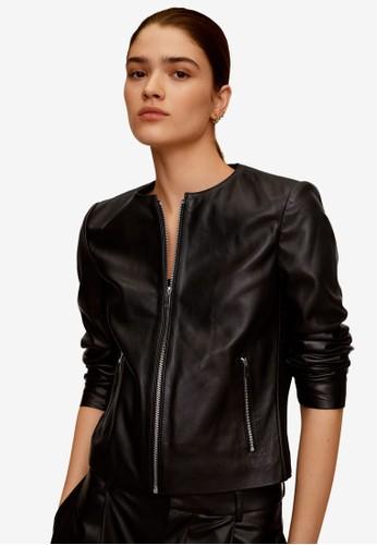 Mango black Leather Biker Jacket 0180BAA9F17822GS_1