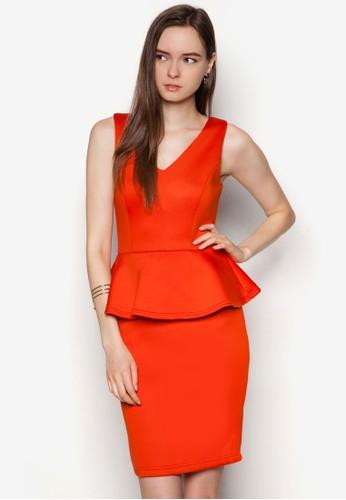 zalora是哪裡的牌子荷葉腰飾修身洋裝, 服飾, 洋裝