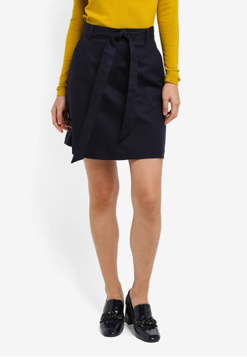 WAREHOUSE navy Compact Cotton Mini Skirt 43D9CAA85F3A22GS_1