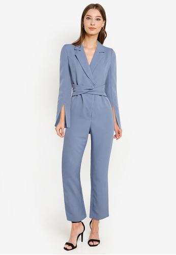 ZALORA OCCASION blue Blazer Wrap Jumpsuit With Self-Tie Belt 7B9A6AA892C6B3GS_1