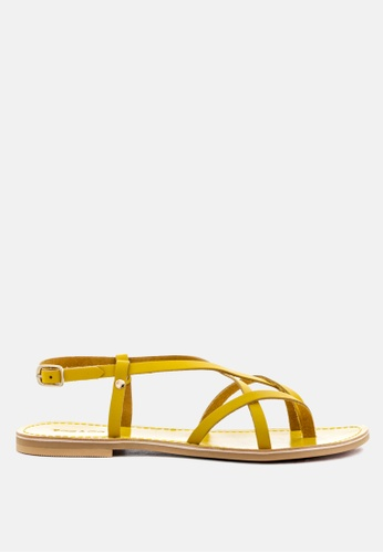 RAG & CO yellow Strappy Flat Leather Sandals D9BF2SH6209C2CGS_1