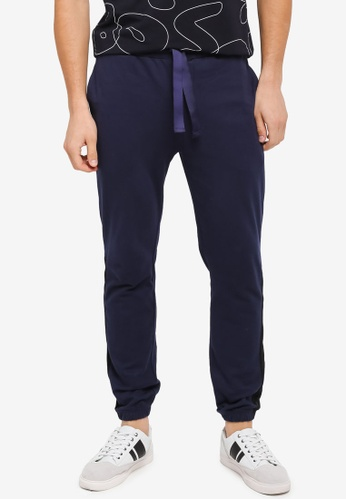 UniqTee 海軍藍色 Jogging Trousers With Band UN097AA0SYUFMY_1