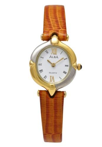 Alba brown ALBA Jam Tangan Wanita - Brown Silver Gold White - Leather Strap - ARYJ92 72469AC60C211BGS_1
