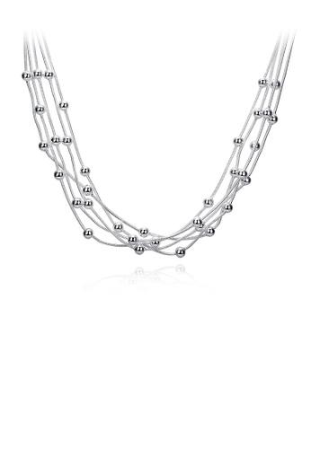 Glamorousky silver Simple Multilayer Ball Bead Necklace 05236AC3DE0028GS_1