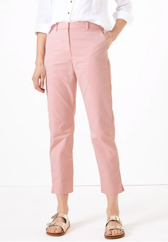 MARKS & SPENCER pink Cotton Straight Leg Chino 39CE2AA98E4B1BGS_1