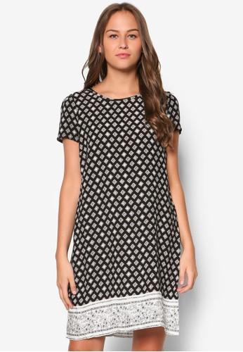 印花直筒短袖連身裙, 服飾,尖沙咀 esprit outlet 洋裝