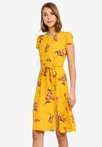 126c5a407c87 Dorothy Perkins yellow Petite Ochre Floral Midi Dress B7A79AAB173715GS_1