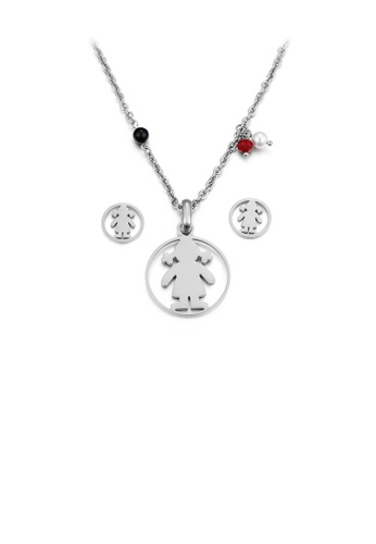 Glamorousky silver Simple and Cute Little Girl Geometric Round 316L Stainless Steel Necklace and Stud Earrings Set 02DFDAC0811F9EGS_1