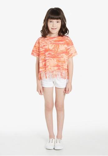 Gen Woo orange Tropical Print Cropped T-shirt By Gen Woo AA937KA8FA869CGS_1
