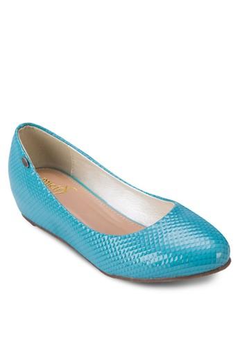 漆面壓紋平底鞋, 女鞋, 芭蕾平zalora 順豐底鞋