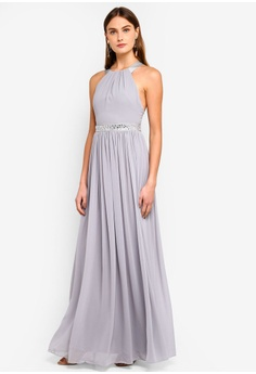 d391d97165b67 75% OFF Goddiva Halter Neck Chiffon Maxi Dress RM 355.00 NOW RM 88.90 Sizes  10 12
