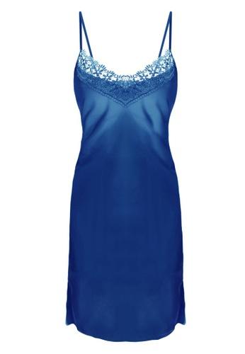 SMROCCO blue Isla Silk Spagetti Strap Dress Nightie Sleepwear PM8056-BLU D9E72AA7A57190GS_1