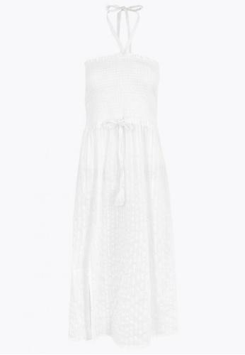 MARKS & SPENCER white Pure Cotton Woven Shirred Midi Beach Dress D2974AA8F8269CGS_1