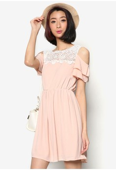Fit-and-Flare Dress with Cut-Out Shoulder