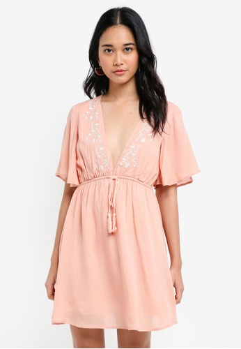 Something Borrowed pink Embroidered Relaxed Dress EDDA0AAD3ED158GS_1
