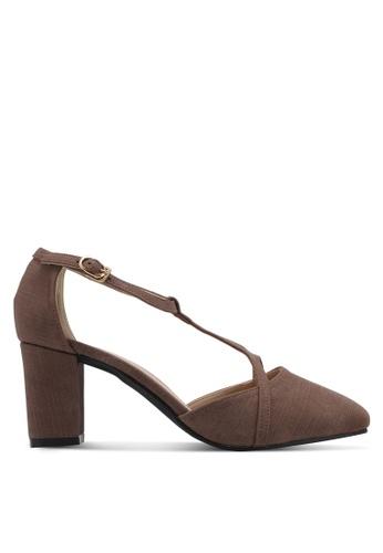Spiffy brown Hook & Loop Elegant Mid Heels SP352SH0SRY3MY_1