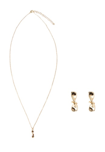 My Flash Trash gold Twisted Necklace with Earring Set 78D77AC37B9BC6GS_1