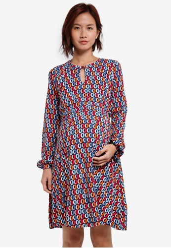 JoJo Maman Bébé multi Maternity & Nursing Keyhole Dress D19EEAAAF77274GS_1
