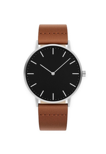 PLAIN SUPPLIES grey Minimaal 40 Silver Watch – Brown Leather 62FC9AC5D51BF0GS_1
