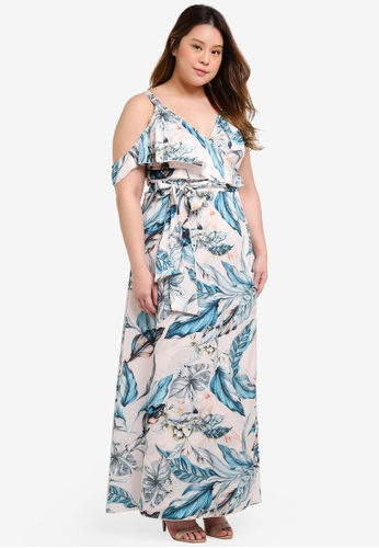 Little Mistress multi Plus Size Frill Wrap Maxi Dress 1CB2CAAD1A4DA8GS_1