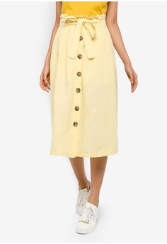 87e712241a TOPSHOP yellow Linen Button Midi Skirt 58162AACFA75E7GS_1