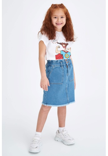 DeFacto blue Girl Denim Skirt 3A718KAABE97A2GS_1