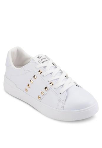 鉚釘飾繫帶皮革休閒鞋, 女esprit官網鞋, 鞋