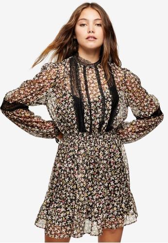 TOPSHOP multi Print Lace Trim Mini Dress 3F4D0AA7F3B814GS_1