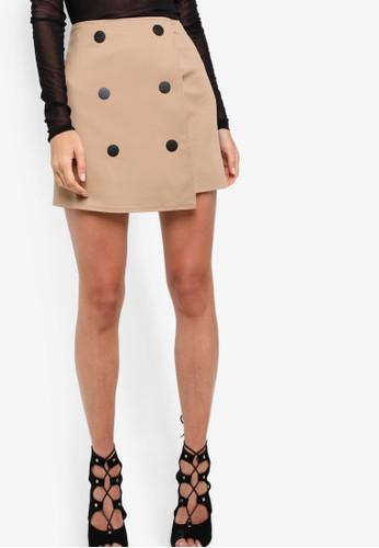 zalora鞋雙排鈕裹飾短裙, 服飾, 迷你裙