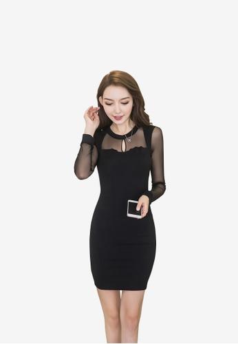 hk-ehunter black Women Pack hip Long sleeves Dress 952A3AA11CB118GS_1