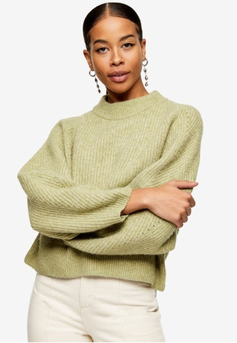 TOPSHOP green Sage Super Soft Dolman Sleeve Knitted Jumper 68192AA1F2FA88GS_1