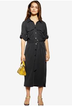 db838c886cad TOPSHOP black Petite Utility Midi Shirt Dress 18C0DAA709733DGS_1