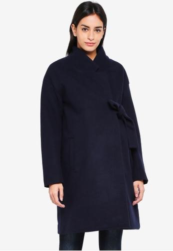 Mama.licious navy Maternity Tie Belt Coat 0E4FBAACDCDC2CGS_1