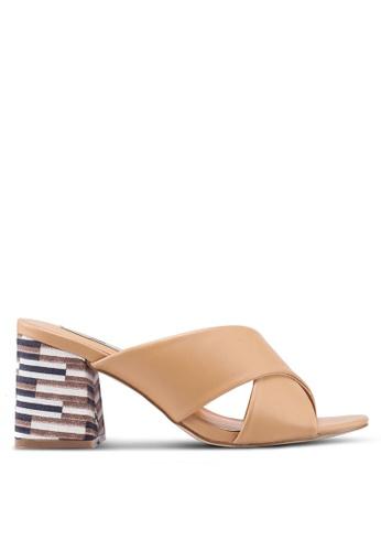 Nose brown Criss Cross Mid Heel Slides 16921SHE14C4A6GS 1