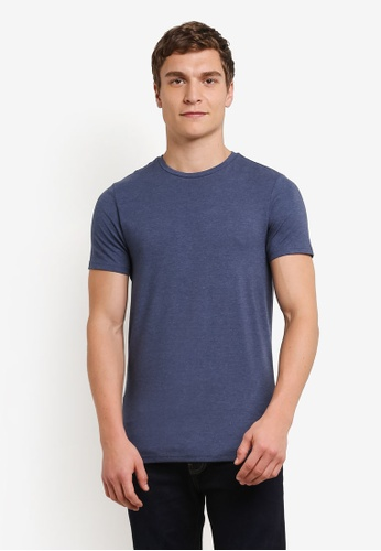 Burton Menswear London 藍色 Denim Marl Muscle Fit T-Shirt BU964AA0S2BKMY_1
